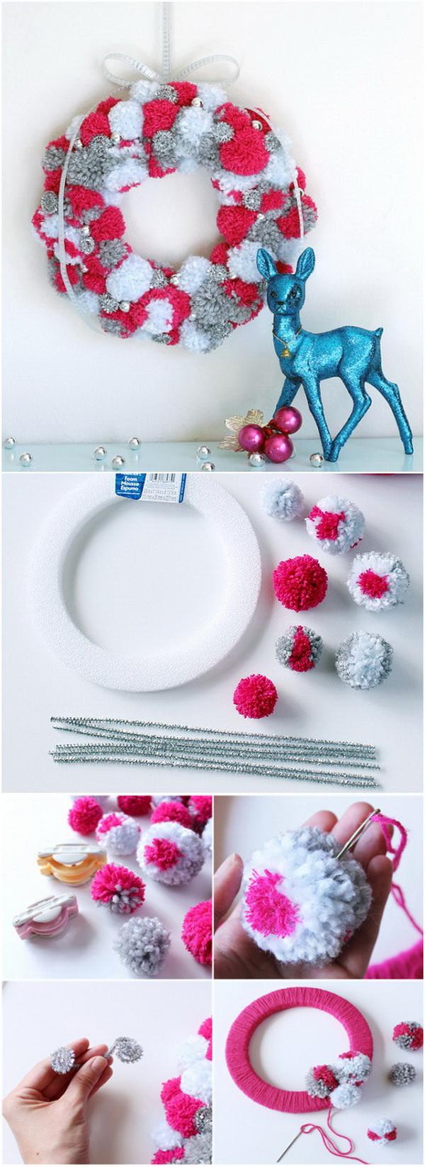 DIY Holiday Pompom Wreath.