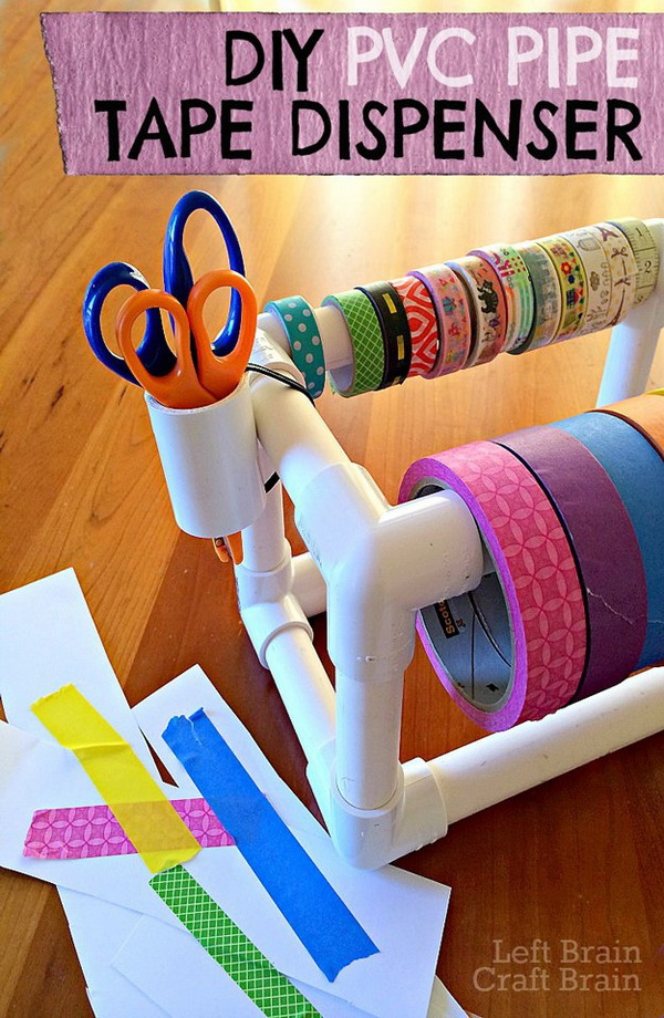 DIY PVC Pipe Tape Dispenser. Make your own tape dispenser from PVC pipe! It's an easy and fun building project both for kids or adults.