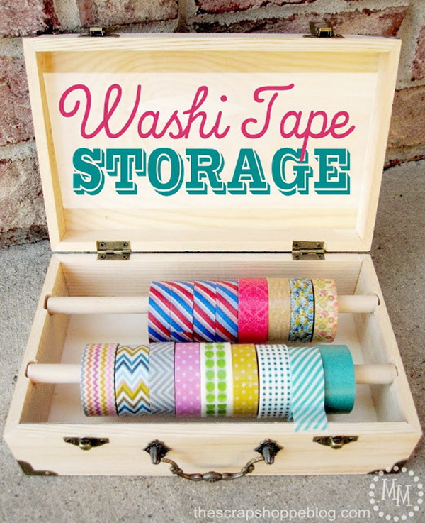 Washi Tape Storage Wooden Box. Those wooden boxes turn out to be the perfect size to store rolls of washi tape with a bit of your creativity!