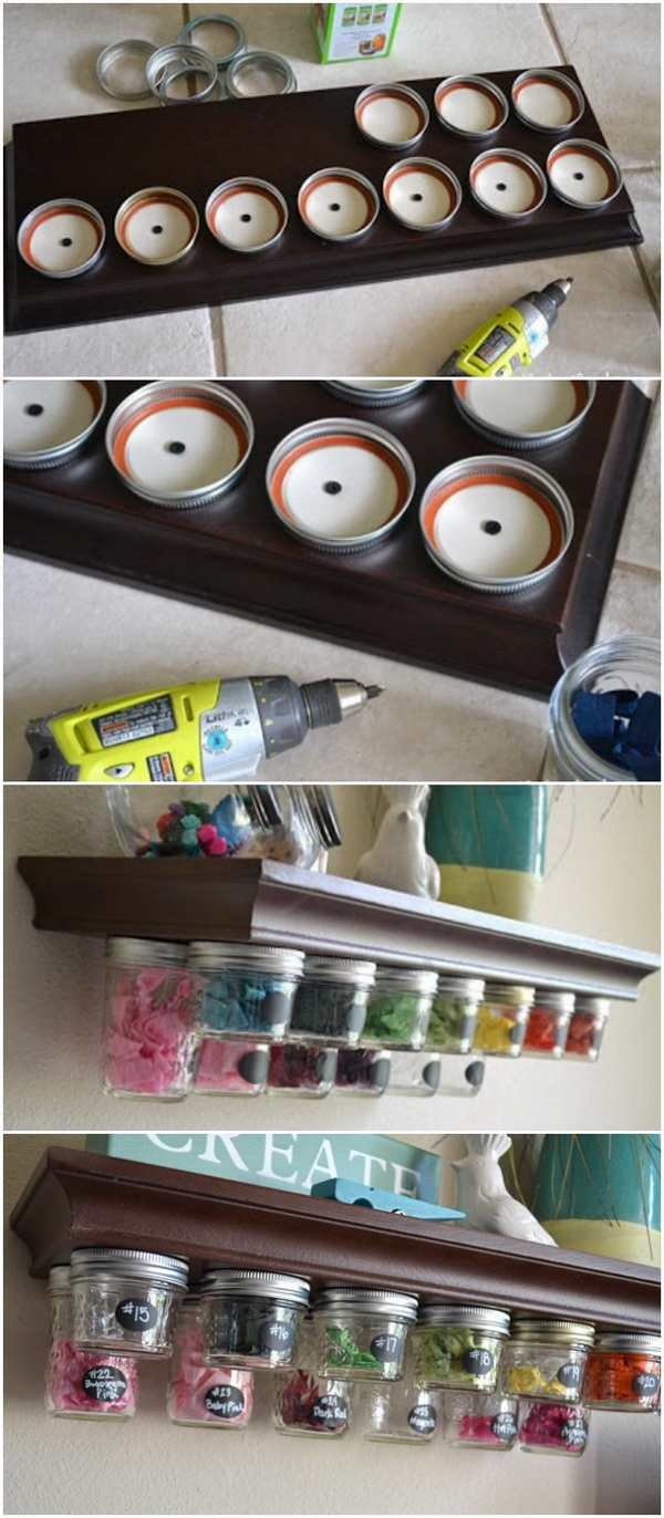 Mason Jar Storage Shelf. Make a storage system with leftover mason jars at hand and add extra storage to keep clutter off your floors and counter tops.