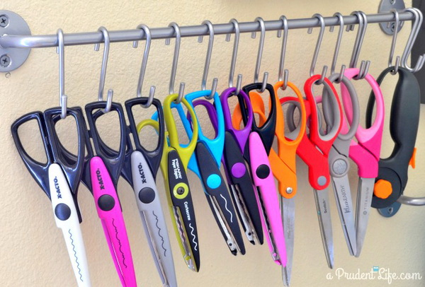 Craft Scissor Storage. Creative way to store scissors with steel hooks! It helps me to protect them and find them easily!