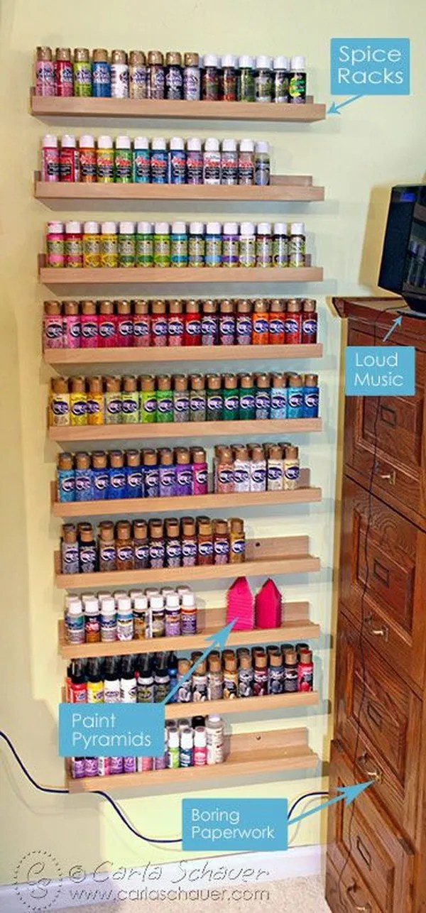Acrylic Paint Storage Using Spice Racks. Create an acrylic paint storage rack out of the spice racks. It not only showcases the beautiful display of colorful acrylic paints but also can keep the paints in order and within easy reach!