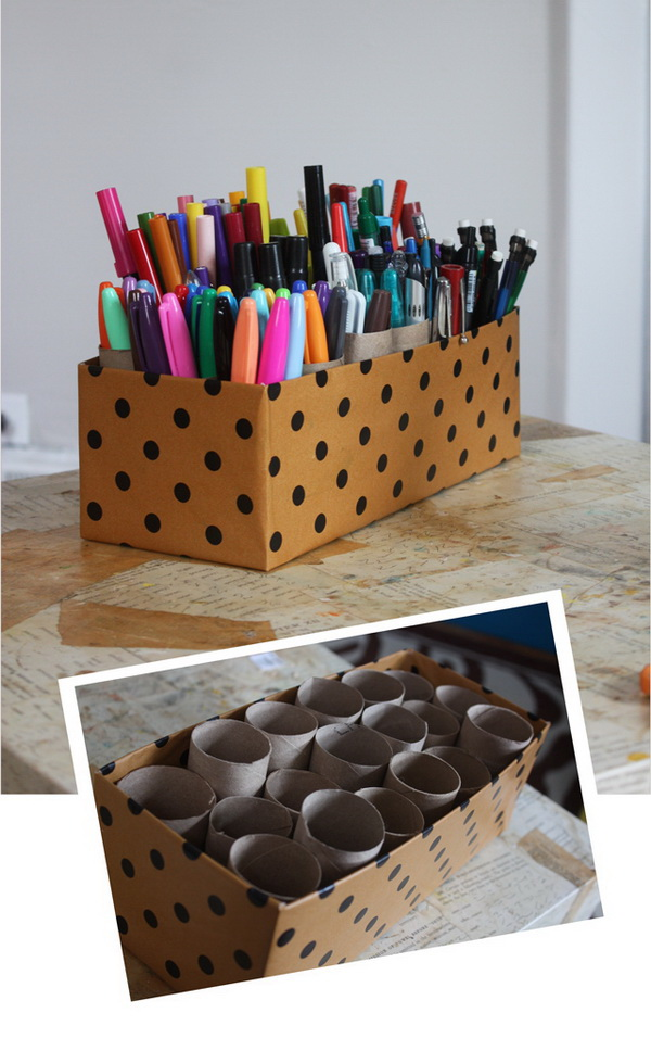 10 Minute Marker Caddy. You can make this clever marker caddy with an empty shoe box and some toilet paper tubes. No glue, no nothing. It is so easy to make and perfect for storing pens, pencils and markers.
