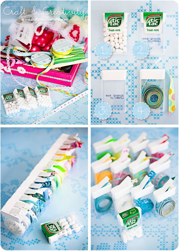Trims And Ribbons Organization With Tic Tacs Containers. Storing trims and thin ribbons in empty tic tac containers. Another perfect organization and storage solution for your craft room!