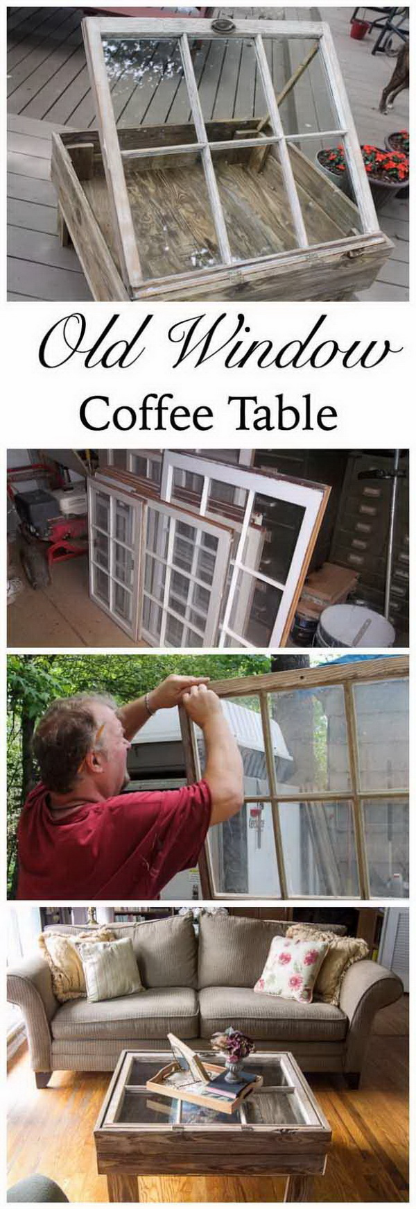 Old Window Coffee Table. Make this coffee table out of an old window. It is beautiful, and quick, easy to make with minimal wood working skills.