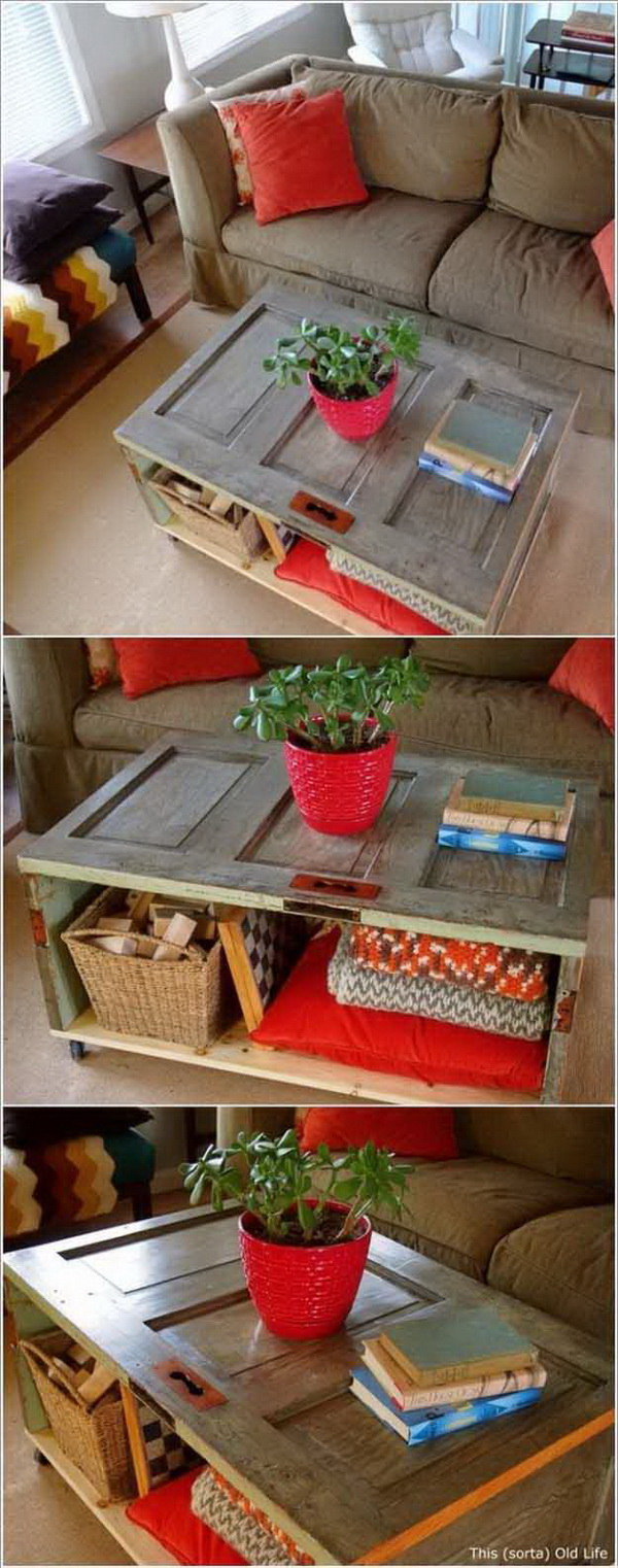 Old Door DIY Coffee Table. Make a coffee table from an old door! It gives your living room that unique, one-of-a-kind shabby chic feel and lends trendy farmhouse decor vibes to your living room!