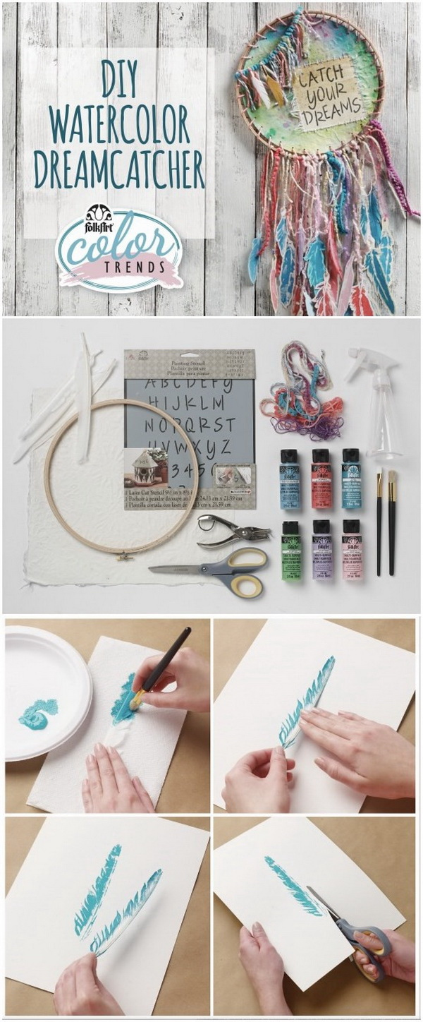a122fda437073 DIY Watercolor Dreamcatcher. The 'feathers'of this gorgeous dreamcatcher  are actually made out