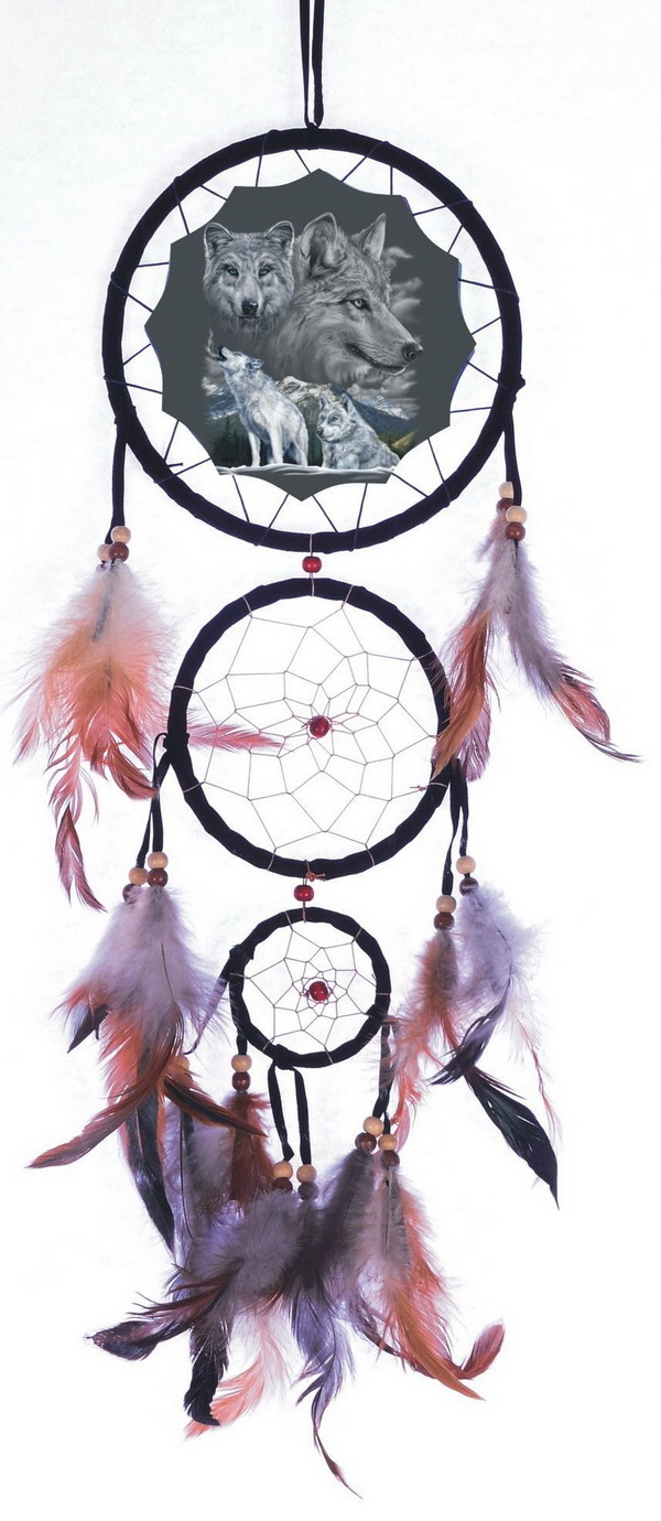 Dream Catcher with beads and feathers. The picture of wolfs in the center make this dreamcatcher super unique and powerful!
