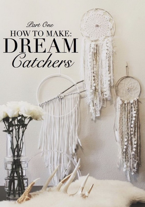 White shabby chic dream catcher DIY. Love the shabby, vintage chic look! Make several in different shapes and styles and group them together to create a great wall decor for your room.
