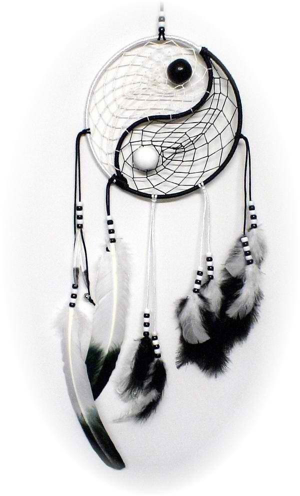 DIY Yin Yang Dream Catcher. A yin-yang inspired dream catcher with white and black feathers, beads and strings.