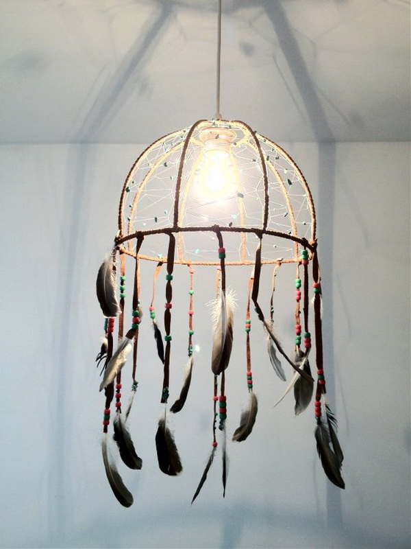 DIY Dream Catcher Lamp. This one is a great creation of lamp and dream catcher. Super unique and stunning for any modern room decoration! You can upcycle a lamp framwork to make this one!