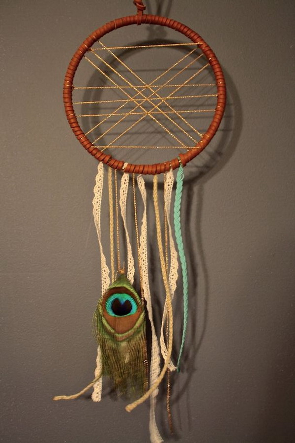 Lacy strips and strands dream catcher. Simple design but with an elegant and modern look!