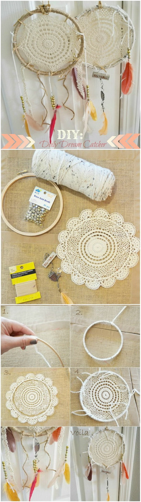 DIY Doily Dream Catcher.