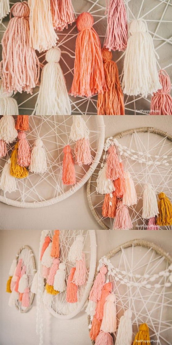 DIY Tassel Dream Catchers. This tassel design one looks great in a little girls' nursery or in a cozy reading space.