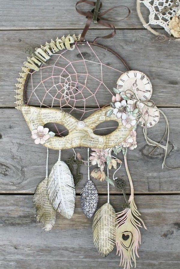 DIY Vintage Dream catcher. The old music sheets add more vintage charm to this piece of art work.