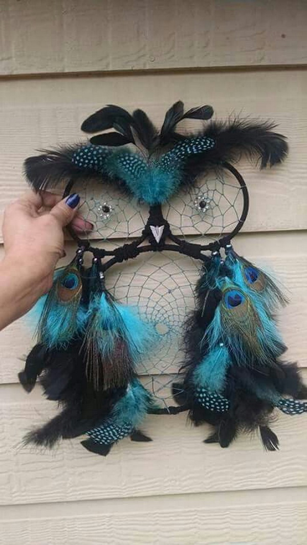 Owl Dream Catcher DIY. Dreamcatcher is a hanging charm to protect children from nightmares. It is such an unusual dream catcher with two beads in their centers as eyes and feathers on top and at bottom.
