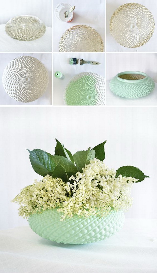 Upcycled Lampshade Vases. Transfer a simple clear lampshade into a stunning vase for home decoration with spray paints!