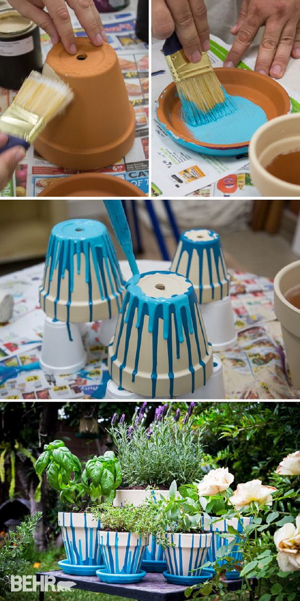 Painted Pot Herb Garden. Turn a regular terra cotta pot into the cutest and fun planter with spray paints. Perfect for your desk, or make as a gift for your friends and coworkers!