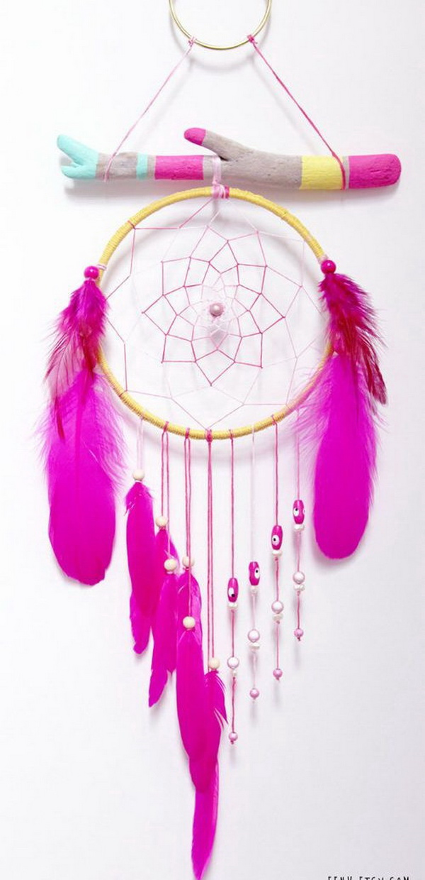 Summer Solstice Painted Driftwood Dream Catcher Mobile. Different from the classic dream catchers, this one is colorful and much more delightful.