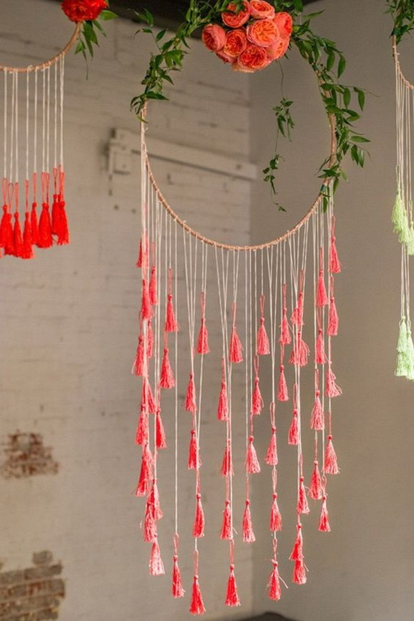 Floral and tassel dream catcher. no loop and handcrafted tassels for the dropping parts.