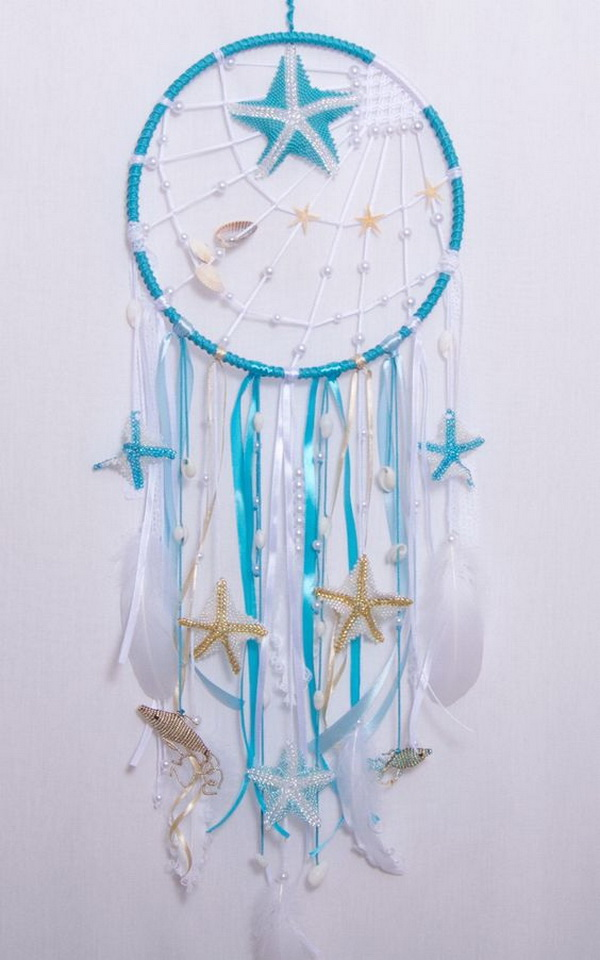 Large nautical blue children's dream catcher. Create a nautical themed dream catcher.