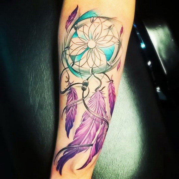 Colorful dreamcatcher tattoos.