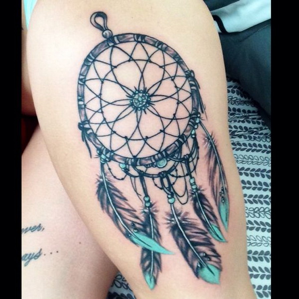 Thigh dreamcatcher tattoo idea.