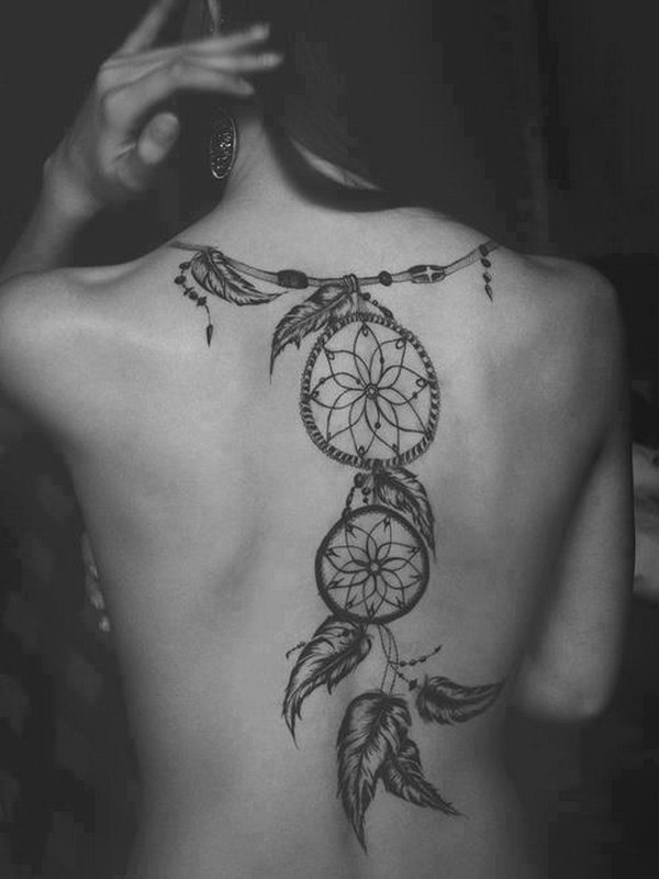 Feather dreamcatcher tattoo on the full back.