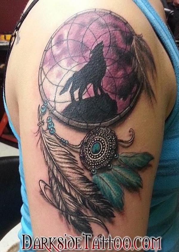 Arm dreamcatcher tattoo design.