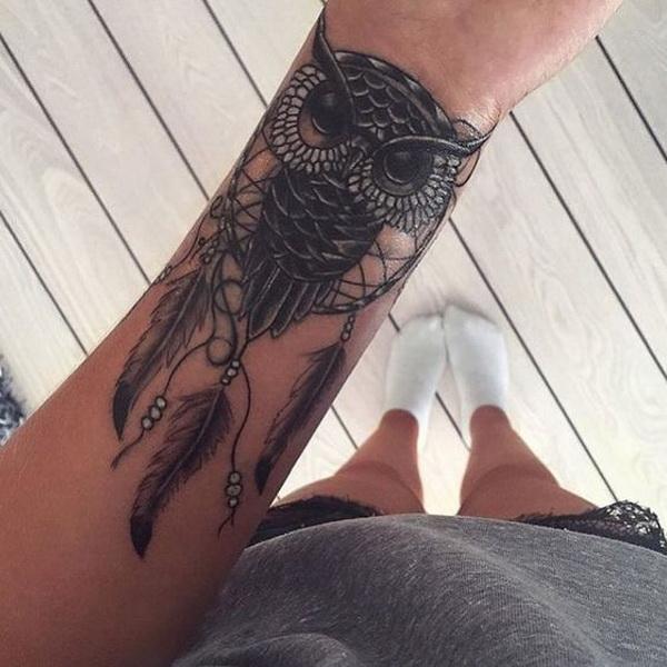 Owl dream catcher tattoo design.