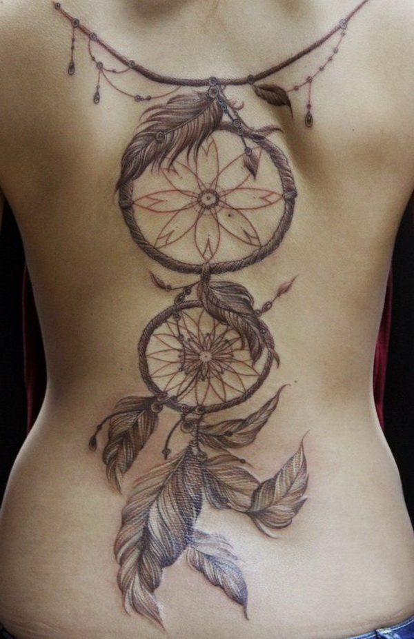 Full back dream catcher tattoos.