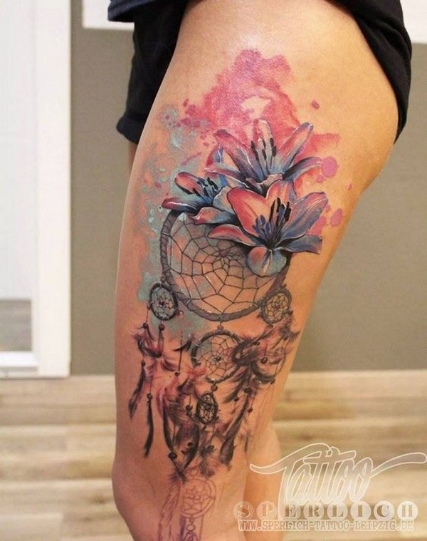 45 dreamcatcher tattoo design ideas for creative juice for Watercolor dreamcatcher tattoo