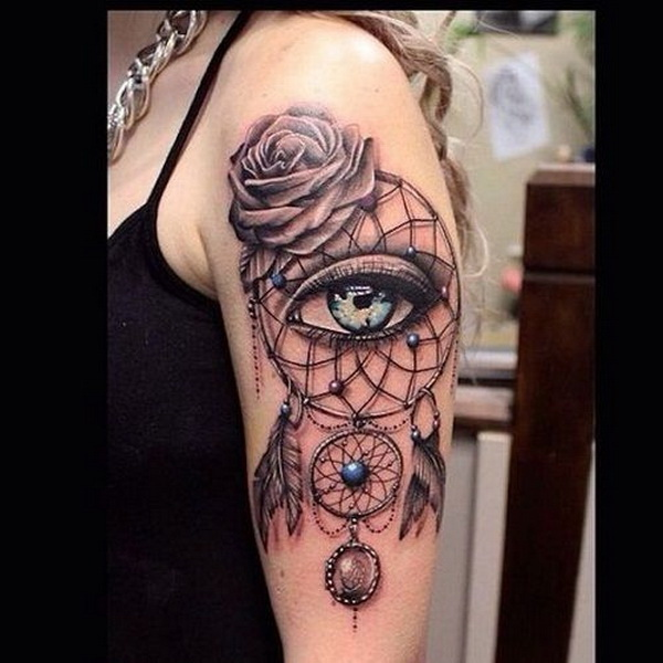 Arm dreamcatcher tattoos.