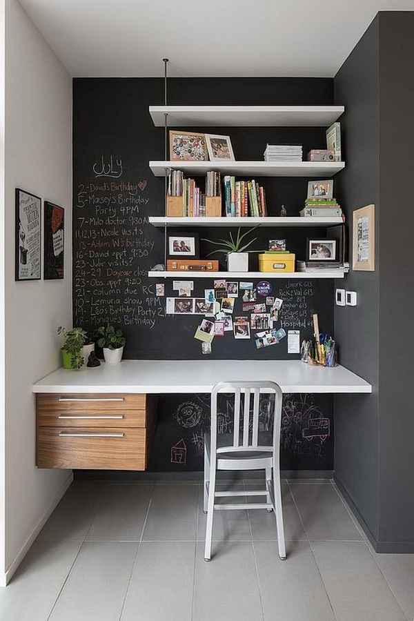 Small office nook with chalkboard wall. Convert a small space to a polished eye-catching and functional home office nook. Love the creative and unique design of chalkboard wall! So I can write the working list to remember or I can also draw my own wall design according to my interest.
