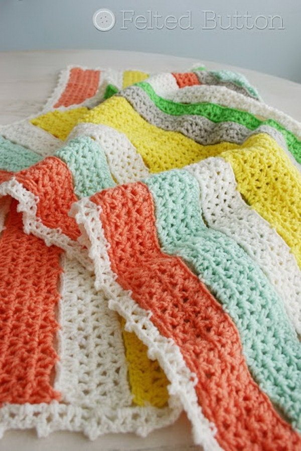 Citrus Stripe Crochet Blanket.