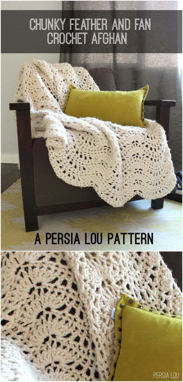Pretty Crocheted Afghan Pattern Blanket.