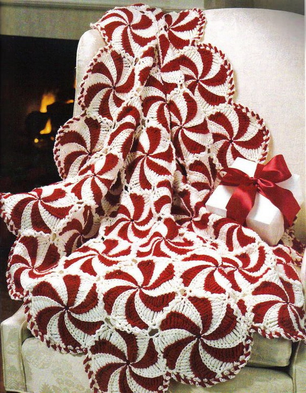 Peppermint Swirl Throw and Pillow.