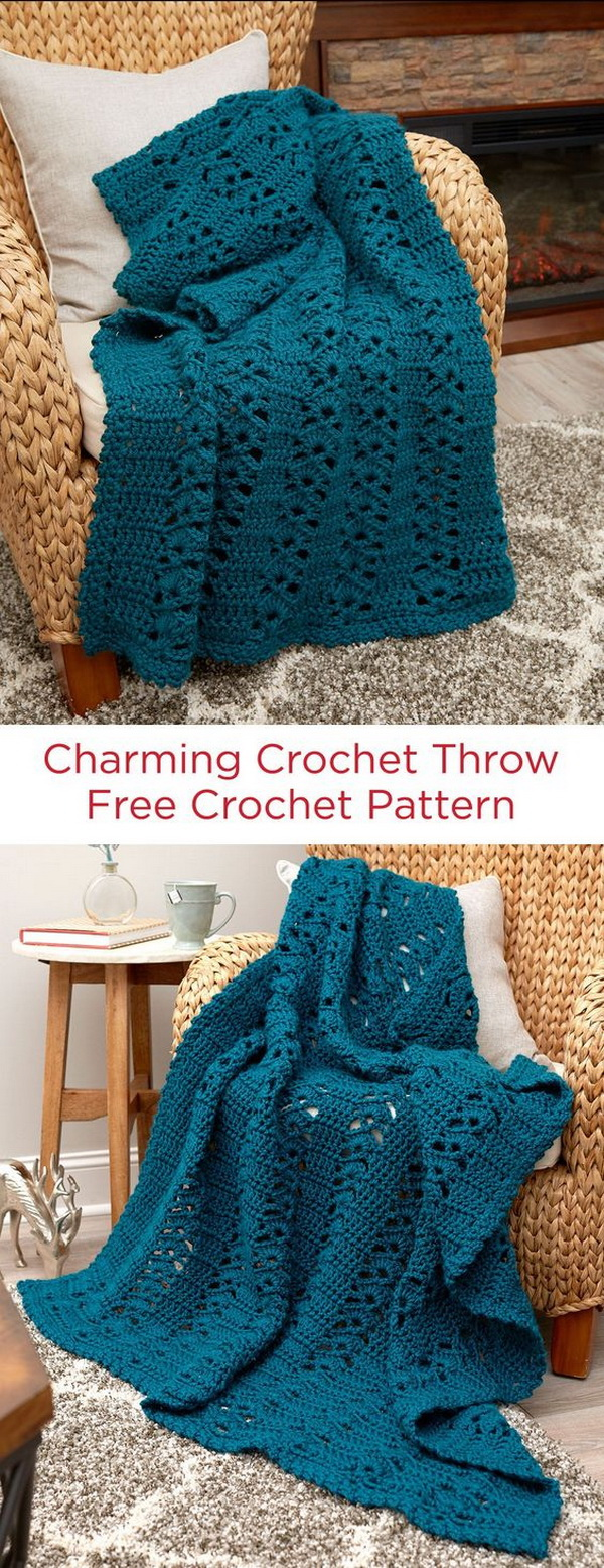 Charming Crochet Throw Blanket.