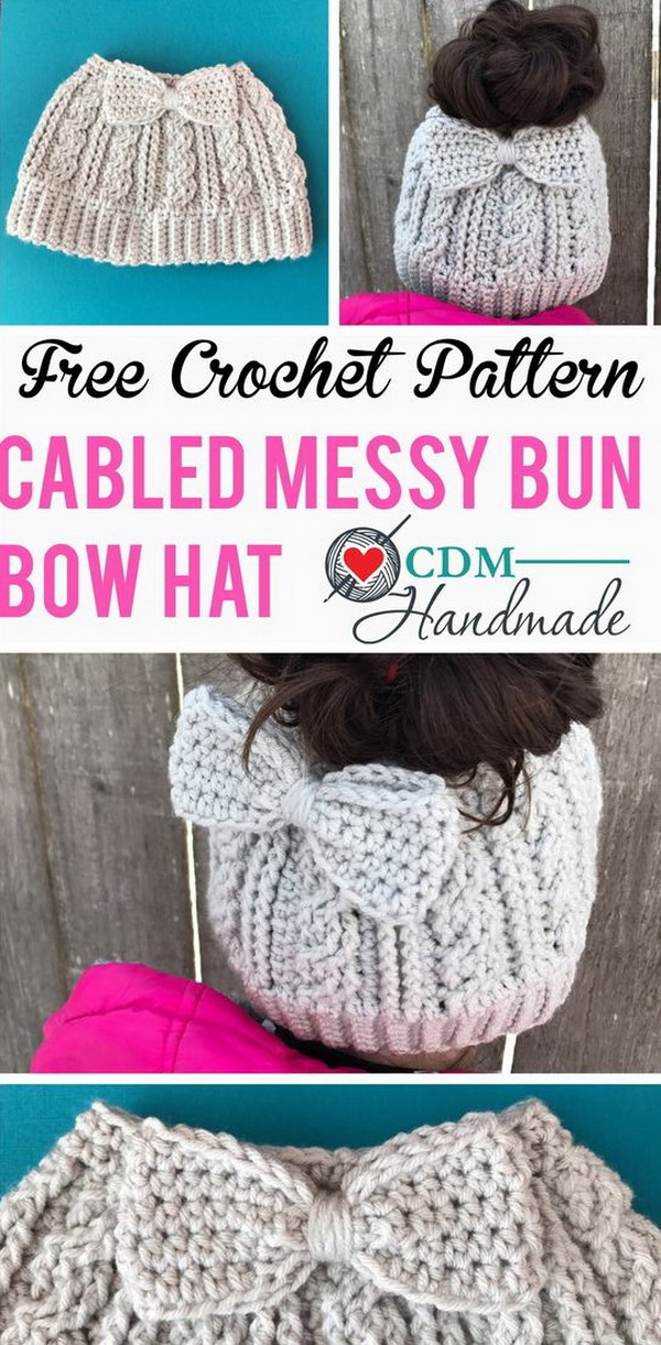 Cabled Messy Bun Bow Hat. Keep your head warm and stylish with this easy beginner's project---cabled messy bun bow hat! It also makes a thoughtful gift for someone else!