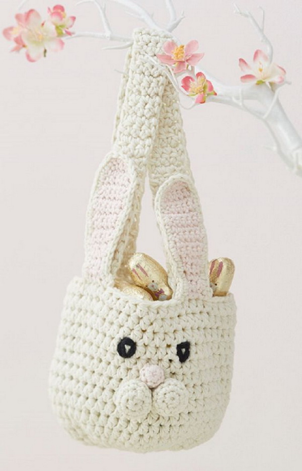 Bunny Basket Crochet Pattern. This crochet bunny basket makes the best easter egg hunt basket. Your little one can use it as a bag or hanging storage afterwards too, for a sweet little animal addition to their room.