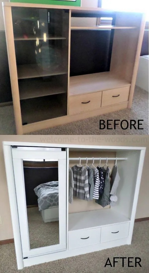DIY Kids Closet From Entertainment Center.