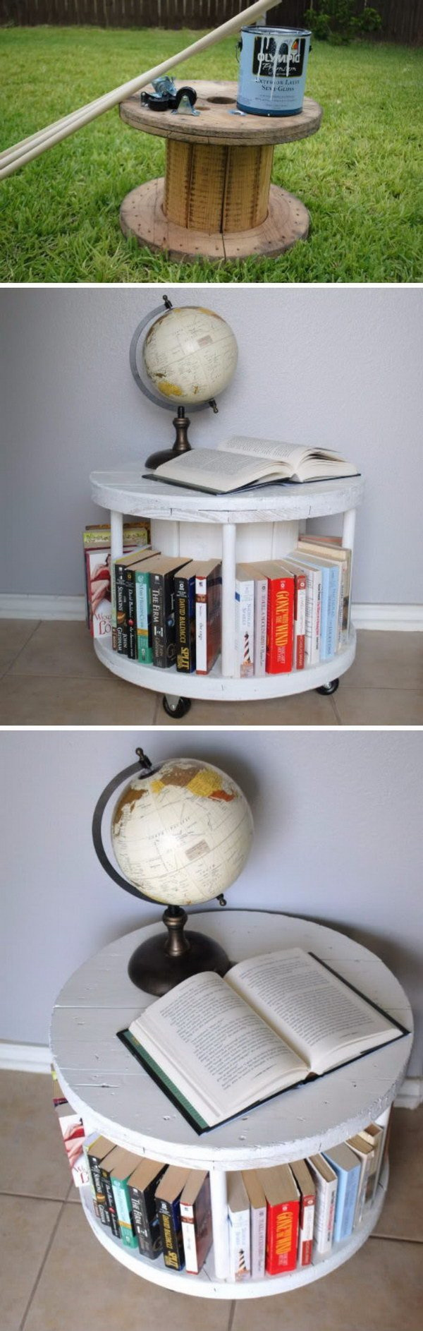 Easy DIY Spool Bookcase.