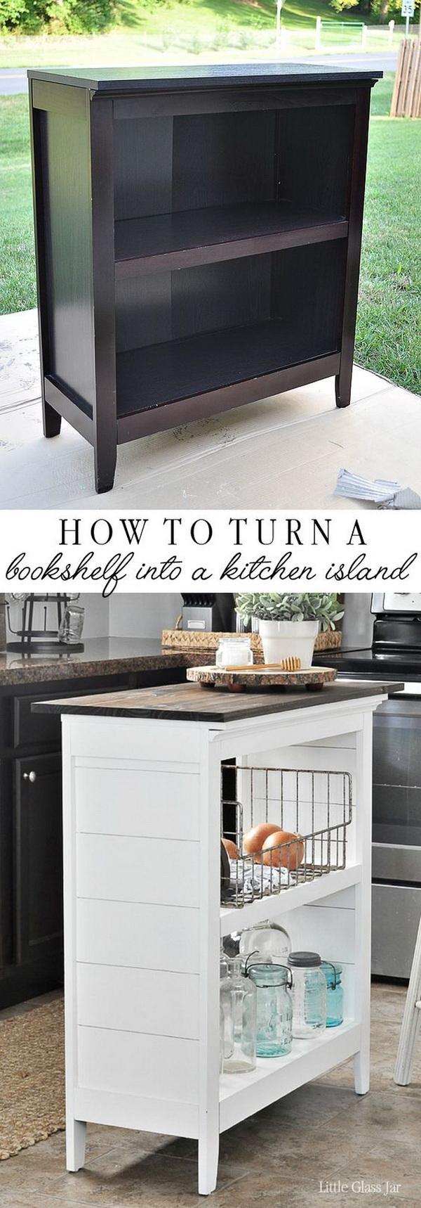 DIY Bookshelf Kitchen Island.