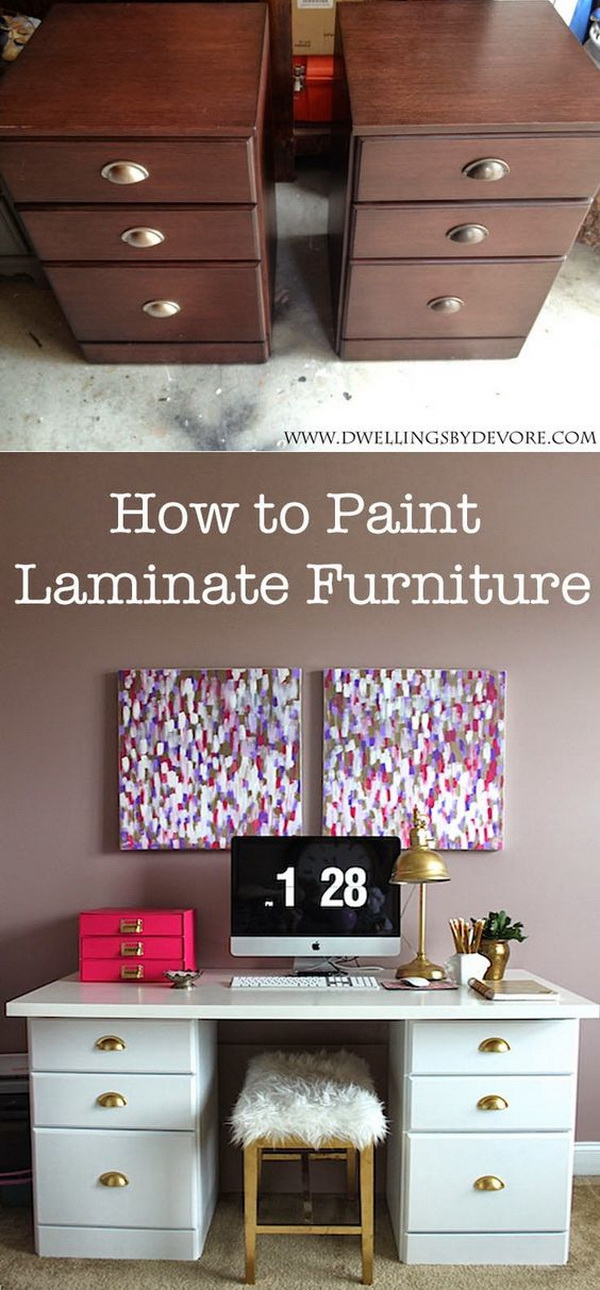 Painting Laminate Furniture. If you not like the natural look of the laminate furniture, try to give it a new fresh look with some paints!