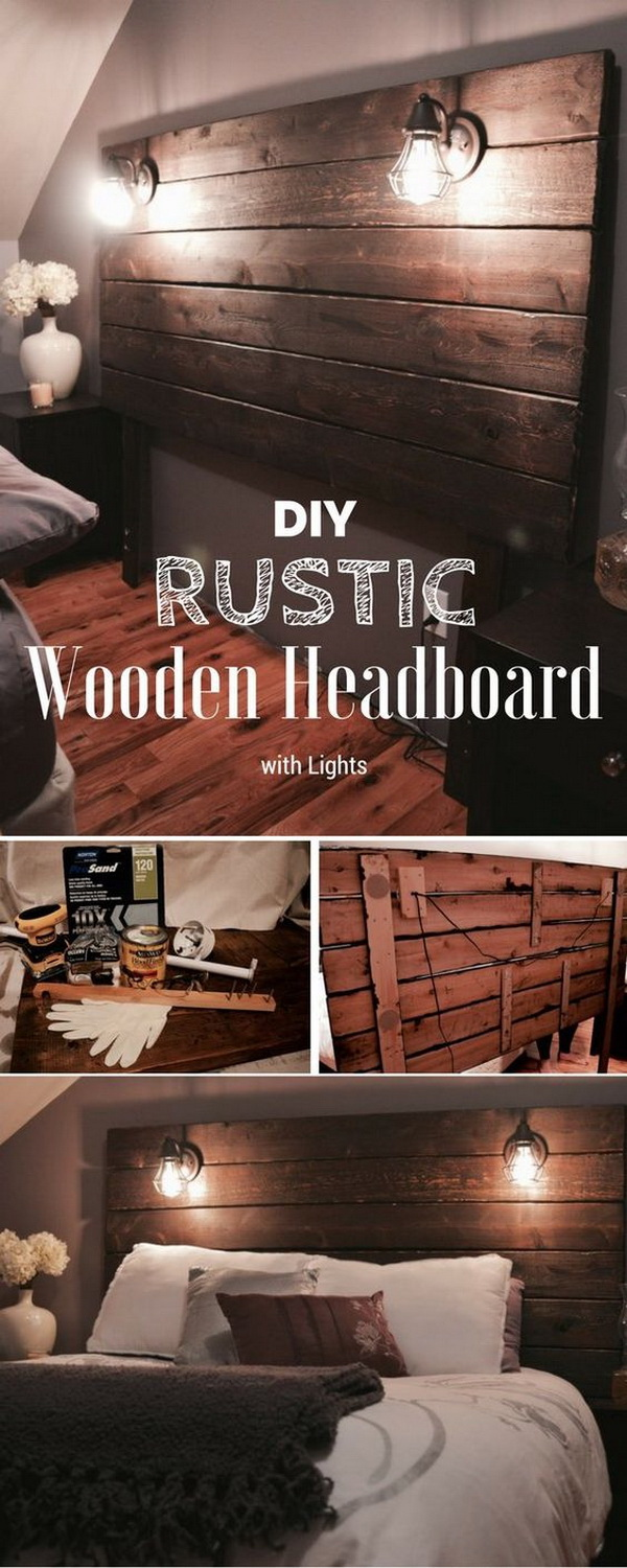 Rustic Wooden Headboard. A DIY rustic wooden headboard is a fantastic addition to your rustic-style bedroom!