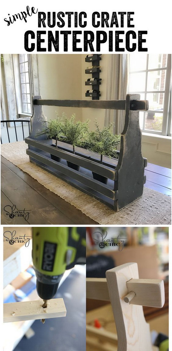DIY Rustic Crate Centerpiece. Lend a unique touch to your rustic dining table with this DIY crate centerpiece! It also makes a fun display on a console table or anywhere else for your farmhouse!