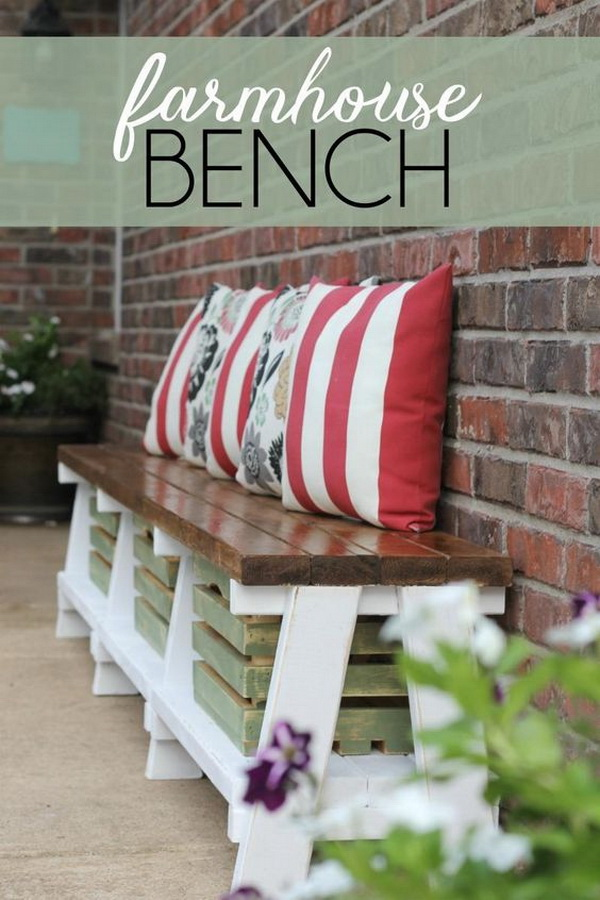 DIY Farmhouse Outdoor Bench. Create a DIY farmhouse bench with an option for extra storage underneath and add more seating to your outdoor space!