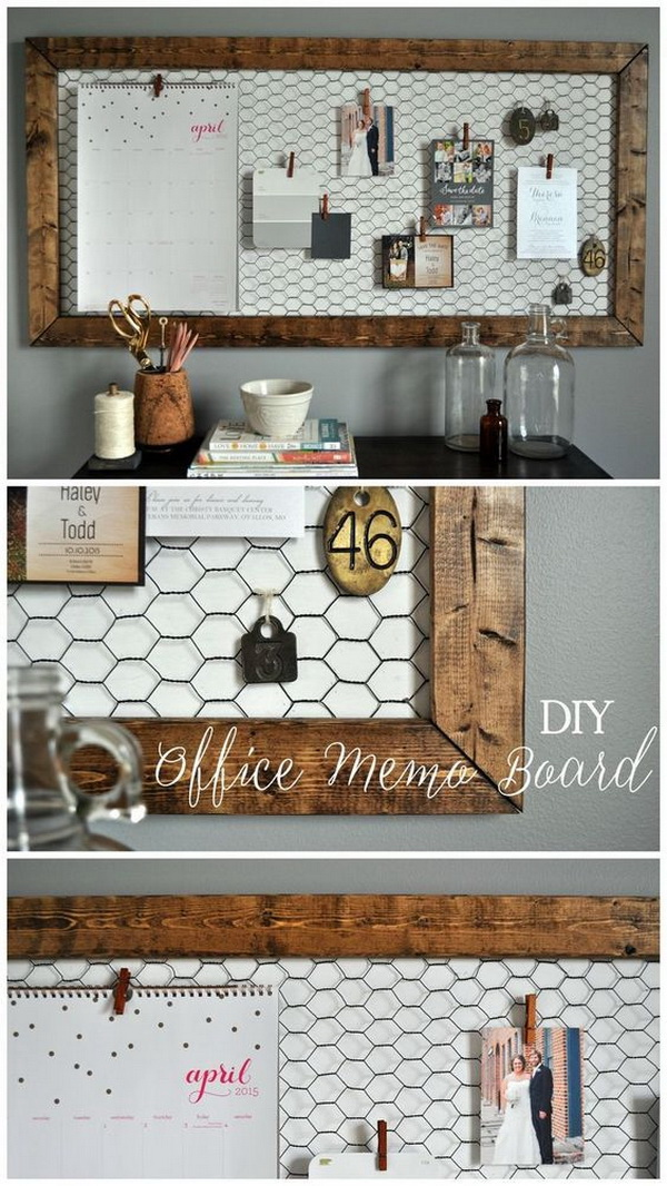 DIY Rustic Office Memo Board. This DIY rustic memo board makes for better organization in any office! You can use the clothespins to hang work lists or any cherish photos or pictures you want to diaplay.