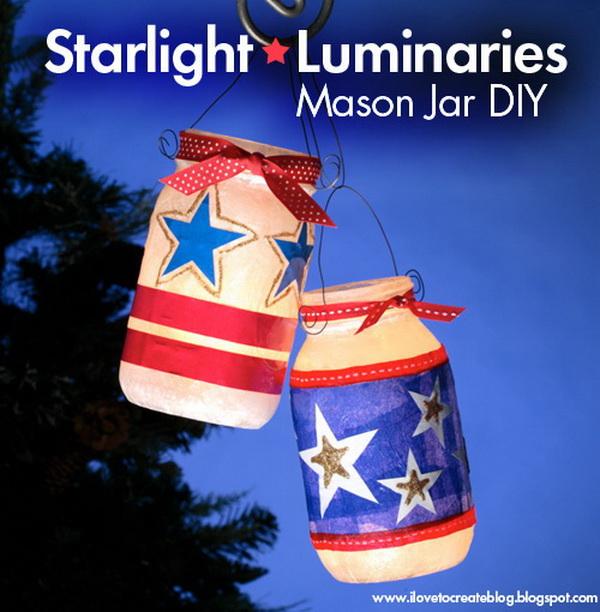 DIY 4th of July Decorations: Starlight Luminaries Mason Jar DIY.