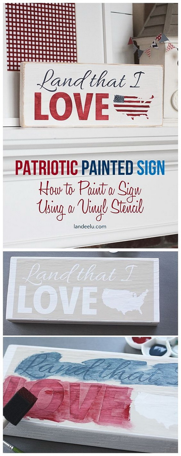 DIY 4th of July Decorations: 4th of July Patriotic Painted Sign.